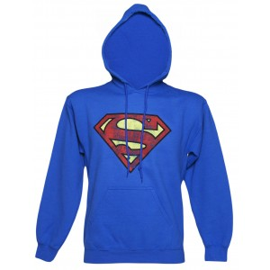 SUPERMAN LOGO PULLOVER HOODIE BLUE L